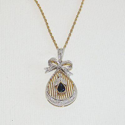 Anhänger Gold 585er Saphir Brillant 14 kt. Goldanhänger Collier Diamant