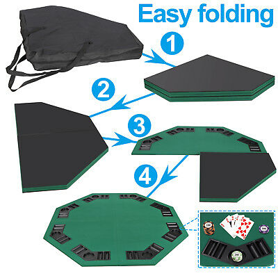 """48"""" Folding Octagon Poker Card Game Table Top w/Cup Chip Holders Blackjack Party 5"""