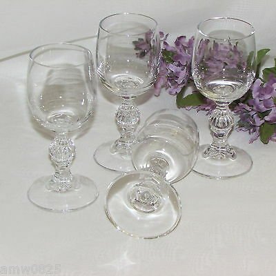 LIQUEUR GLASSES SET OF 4 CORDIAL 2 oz GOBLETS BALL STEM WITH VERTICAL LINES 4