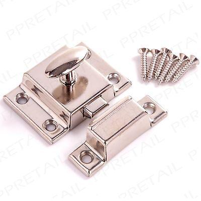 NICKEL CUPBOARD TURN CATCH Silver Desk/Cabinet Door Twist Sprung Latch + Screws 2