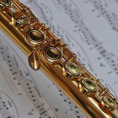 FLUTE 24k Gold-Plated 16 Key C-Foot  • BRAND NEW • Student or Intermediate • 3