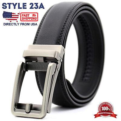 Men's Genuine Leather Adjustable Automatic Buckle Ratchet Golf Dress Belt 4