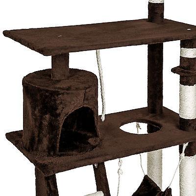 Arbre à chat griffoir grattoir geant avec hamac lit 141 cm hauteur xl marrone 5