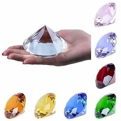 "9 Colors Crystal Paperweight Glass Art Giant Diamond Decor Centerpiece 80mm 3.1"" 2"