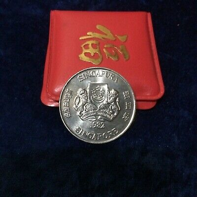 1982 Singapore $10 Dog Unc Silver In Red Wallet 2