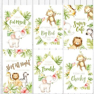 Baby Milestone Cards, 4x6 Photo Prop, 32 cards, Safari, Jungle Animals 4