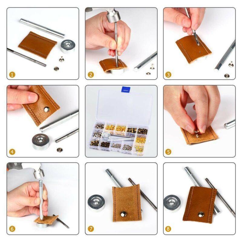 360 Stück Hohlnieten Set 6/8/12mm DIY Angebot Leder Nieten Ziernieten  NEU 4