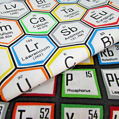 Science fair periodic table 100% cotton fabric by Robert Kaufman per FQT 2