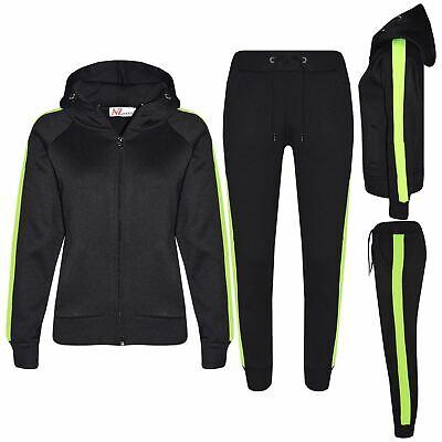 Kids Girls Boys Jogging Suit Plain Fleece Hooded Hoodie Bottom Tracksuit Joggers 2