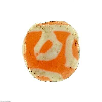 (0625) Yellow Carnelian Eye Bead, Bleached, UNFINISHED, China - Tibet.  古董蚀刻玛瑙珠 3