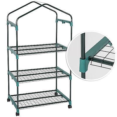 Invernadero de jardín móvil 3 estantes balcón casero plantas cultivos 69x49x133