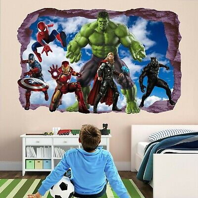 Avengers Super Hero Wall Stickers Mural Decal Hulk Spiderman Iron Man Thor EA81 2
