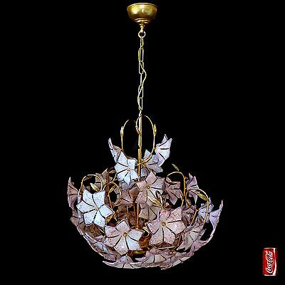 Stunning XL Large Vintage Italian Murano Pink Flower Venini Art-Glass Chandelier 7