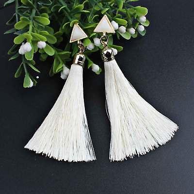 Women Bohemian Fashion Rhinestone Long Tassel Hook Fringe Dangle Drop Earrings 9