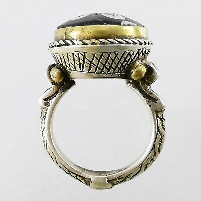 Ancient Lovely Mosaic Gabri Glass (half) Bead Ring 925 Solid Silver #A118 4