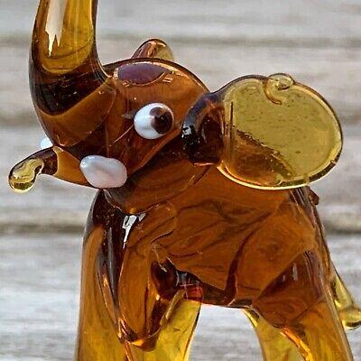 "VTG Italian Murano Art Glass Miniature Animal Figurine Amber Elephant 2 5/8"" 5"