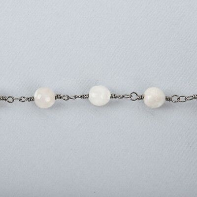3ft WHITE LACE AGATE Gemstone Rosary Chain, gunmetal 8mm double fch0718a 3