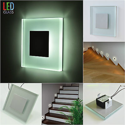 sun led glas alu wandbeleuchtung treppenlicht einbauleuchte 1w 230v stufenlicht eur 29 50. Black Bedroom Furniture Sets. Home Design Ideas