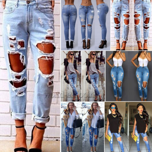 AU Womens Stretch Frayed Ripped Skinny Ladies Denim Pants Trousers Jeans 6-18