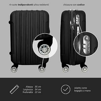Trolley Rigido Da Viaggio Bagaglio a Mano Nero Voli Ryanair EasyJet 55x35x20 cm 4