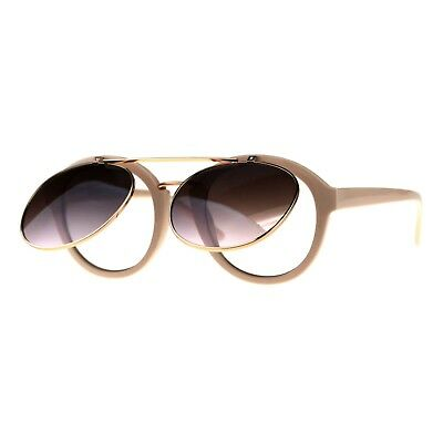 Flip Up Sunglasses Mouse Ears GaGa Round Vintage Retro Lens Purple Clear Gray