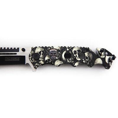 """8.25"""" GREY SKULLS SPRING ASSISTED TACTICAL FOLDING KNIFE Pocket Blade Open 5"""