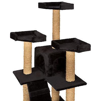 Arbre à chat griffoir grattoir jouet geant 2 grottes 169cm pour chats noir 4