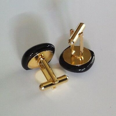 Monogram Cufflinks Gold initials on ivory color glass