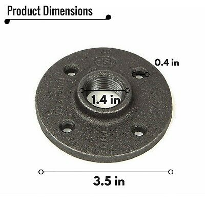 "3/4"" Black Malleable Iron Pipe Floor Flange Threaded Fittings Wall Mount 6Pcs"
