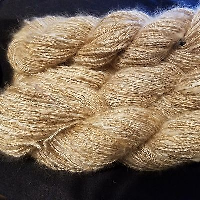 CRAZY Handspun Satin Angora Yarn Natural Fawn 30 yds lace to fingering wt 2 ply 5