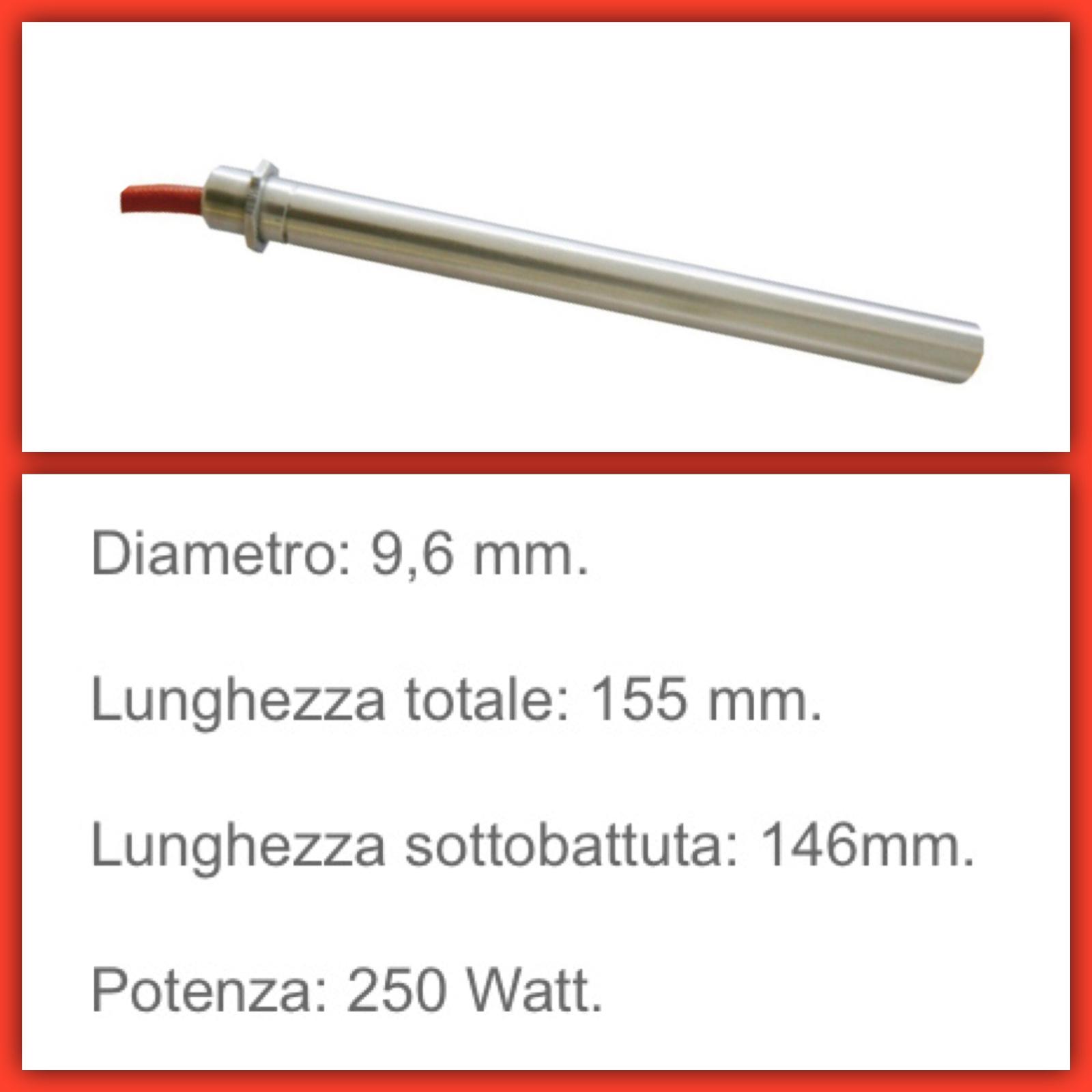 Resistenza accensione stufa pellet ECOFOREST 250 W Lung 155 tot 146 mm diam 9,6 2