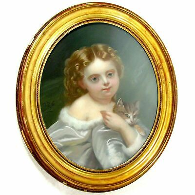 French Portrait of a Little Girl & Cat Pastel Painting Signed, Framed 2