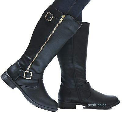 New Women Td28 Tan Buckle Riding Knee High Boots 5.5 to 10