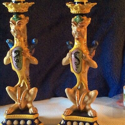Pair Antique Gargoyle/dragons/griffins/ Italy Hand Painted 8