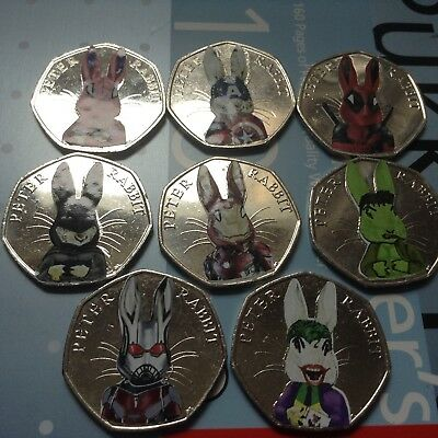 Beatrix Potter Peter Rabbit Marvel Super hero decal 50p set Spider Bat Deadpool 11