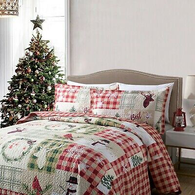3 Piece Christmas Quilt Rustic Western Lodge Cabin Bedspread  Quilt Set Snow Man