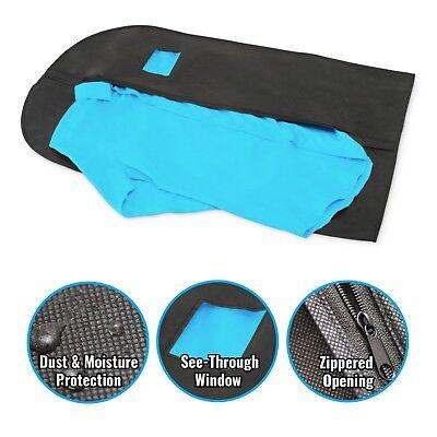 5 Pcs 40-inch Garment Bag for Suit Dress Storage Black with Transparent Window 2