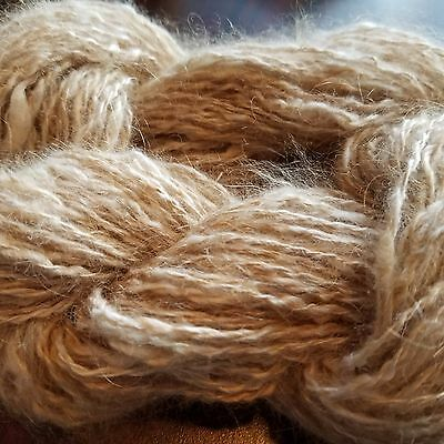 CRAZY Handspun Satin Angora Yarn Natural Fawn 30 yds lace to fingering wt 2 ply 9