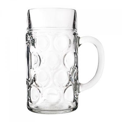 2er Set Maßkrug 1 L geeicht Bierkrug Glas Bierglas Glaskrug Maß Bier Maßkrüge 4