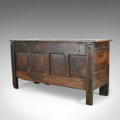 Antique Coffer, Large, English Oak Chest, Early 18th Century Trunk Circa 1700 4