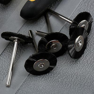 "5Pc 25mm Black Nylon Bristle Wheel Wire Brush 1/8"" Shank For Grinder Rotary Tool 3"