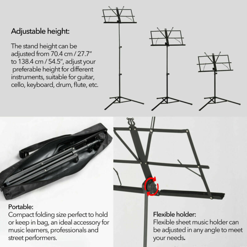 Heavy Duty Foldable Music Stand Holder Base Tripod Orchestral Conductor Sheet Uk 3