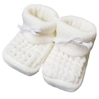 New Baby Babies Boy Girl Knitted Booties White Pink Blue Cream Size NB-3M Shoes 8