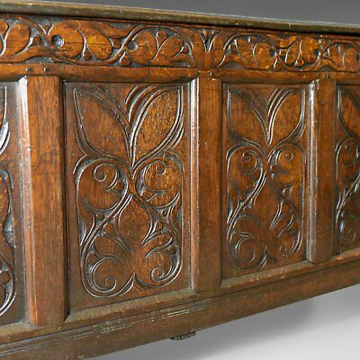 Antique Coffer, Large, English Oak Chest, Early 18th Century Trunk Circa 1700 8