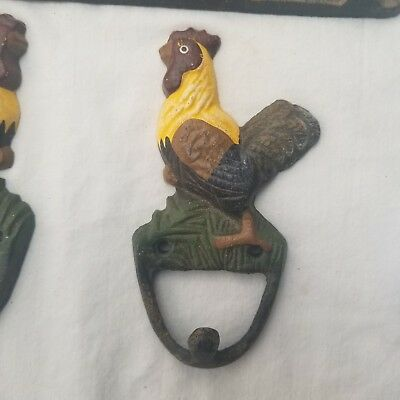 3 Cast Iron ROOSTER CHICKEN Kitchen Wall TOWEL Key HOOKS Farm Ranch Rustic Decor 3