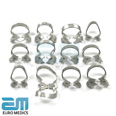 Dental Restorative Set of 12 Rubber Dam Clamps & Frame Colliers Dentist Tools CE 3