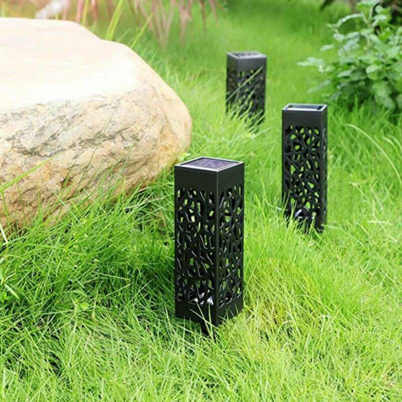 Solar 4 pcsPowered Garden Post Lights Waterproof LED Outdoor Patio Yard Lawn 5