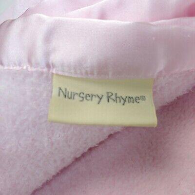 Nursery Rhyme Baby Blanket Pink Fleece w/ Satin Edge Harper 7