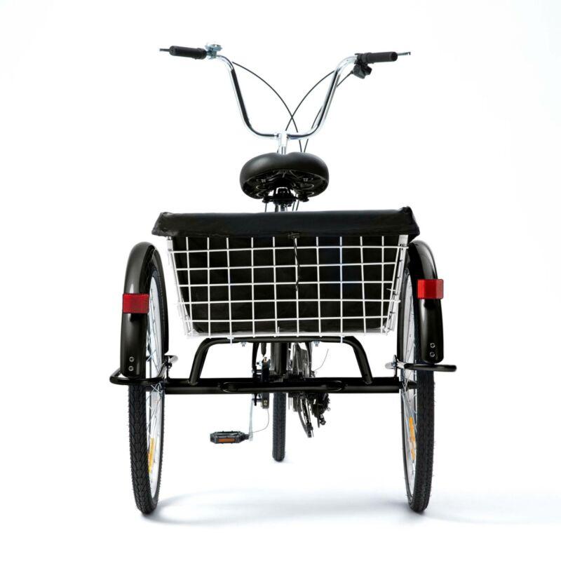 "26""/24""/20"" 8 Speed Adult Trike Tricycle 3-Wheel Bike w/Basket for Shopping 2"