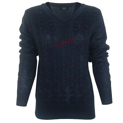 Ladies Womens V Neck Cable Knit Long Sleeve Knitted Jumper Sweater Top Quality 2